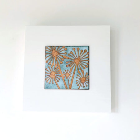 Janine Partington - agapanthus flower enamel copper panel