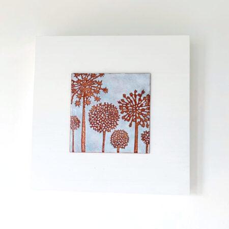 Janine Partington - alliums enamel copper panel